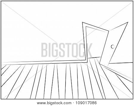 Mystery Room Silhouette Cartoon Vector Illustration Of Home Or Office Corridor And Open Door.