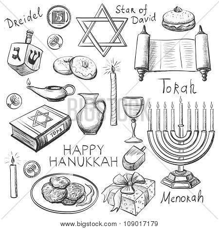 Set of Happy Hanukkah designed elements