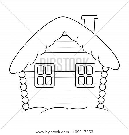 House With Snow Cartoon Silhouette Illustration. Winter Snowy Christmas Home, Cottage Isolated On Wh