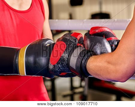Body part hand wearing  gloves boxing .Two  men boxer .