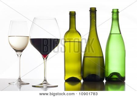 Wine, glass and bottles