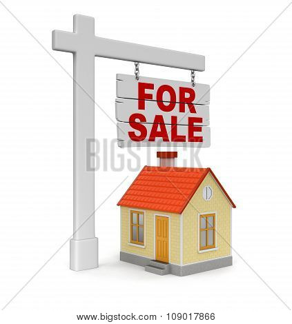 House for sale (clipping path included)