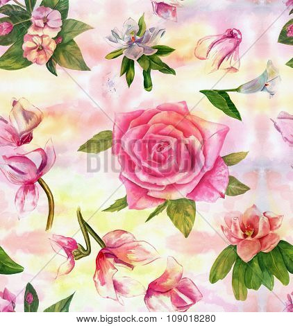 Vintage style watercolour flowers and leaves seamless background pattern
