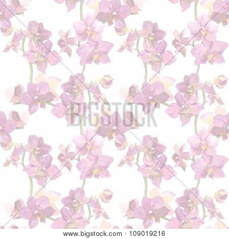 Repeated wallpaper with faded floral design - purple orchid flowers