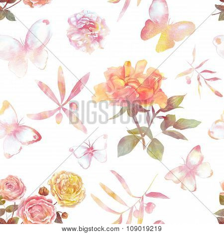 Tender toned seamless pattern with watercolour roses and butterflies
