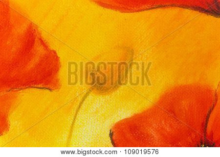 poppy painting on orange background. Flower on abstract color background