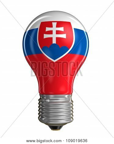 Light bulb with Slovak flag (clipping path included)
