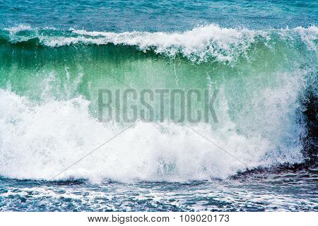 Heavy Waves At Beach