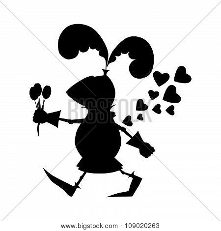 Black silhouette funny knight with flowers for Valentine day