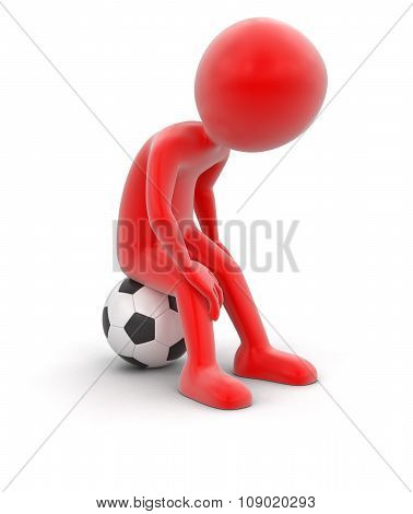 Man with Soccer football (clipping path included)