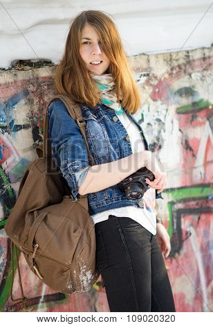 Redhead Girl With Camera