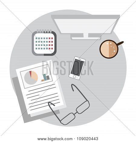 Business workspace cartoon