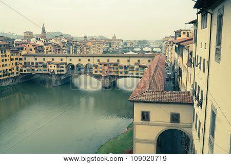 Arno In Florence Pastel