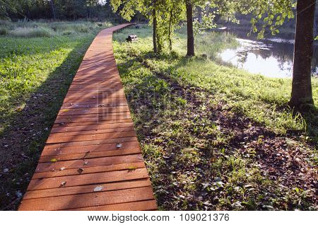 Wooden Pavement By The Lake