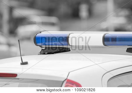 Police car in action.