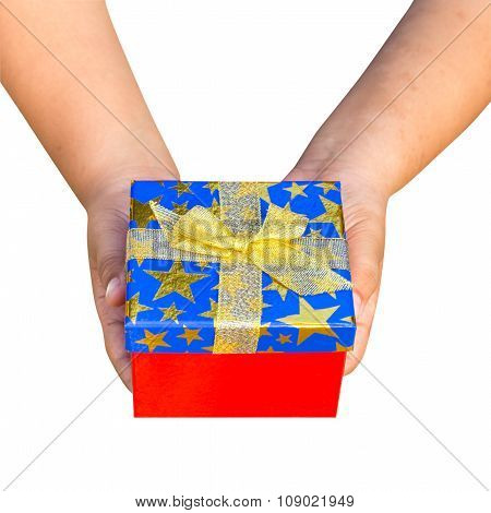 Gift Box On Hand Boy Holding Isolated With Clipping Path.
