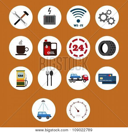 Vector Car Service Flat Icons Eps 10
