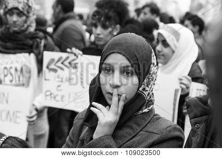 Muslim Community Demonstrating Against Terrorism In Milan, Italy