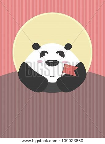 Panda With A Flag  Of China In The Hands In The Background Of Evening Sun