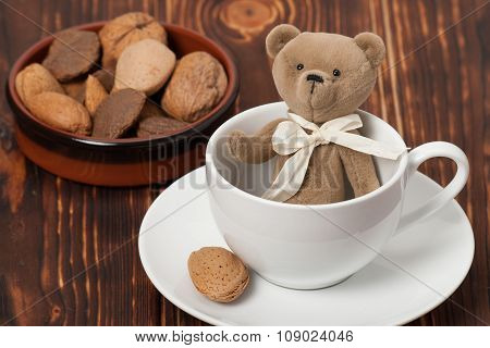 Handmade Bear Soft Toy In Cup. Traditional Teddy Style. Assorted
