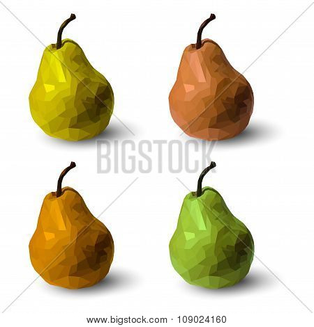 Set Of Polygonal Multicolored Pears, In Vector