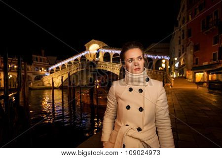 Elegant Young Woman. Rialto. Christmas Time In Venice, Italy