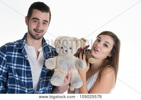 Beautiful Young Couple Girl Holding Two Teddy Bear.