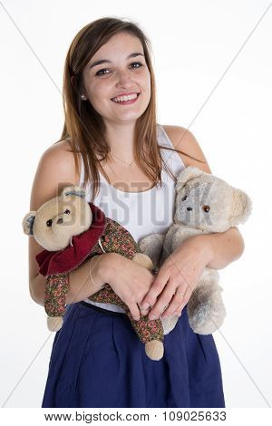 Pretty And Lovely Girl With Two Bear Toys