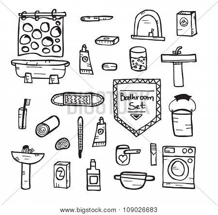 Set of bathroom equipment. Vector illustration. Concept with objects isolated on white background. Hand drawn doodle icons set.
