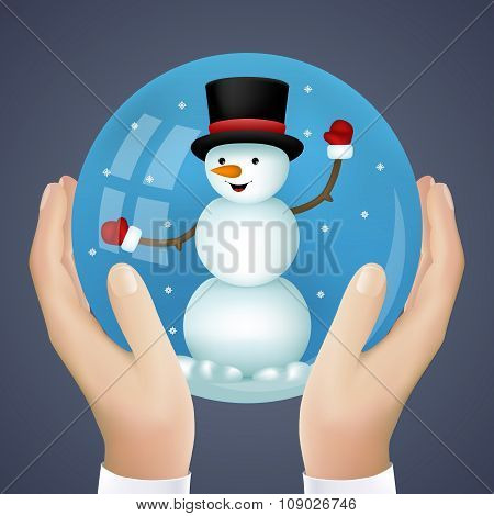 Realistic Hand Holding Cristmas Winter New Year Snowball with Snowman Icon Vector Illustration