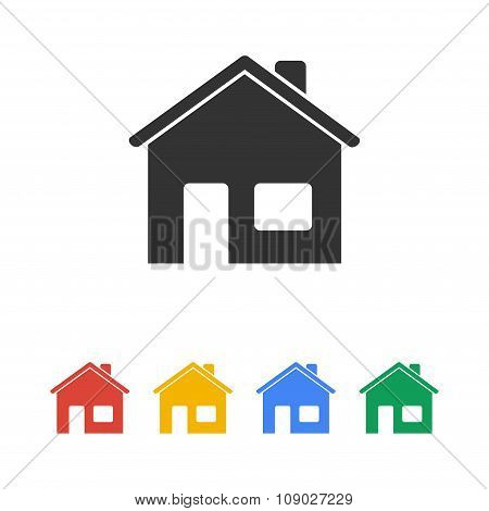 Home Icon. Flat Design Style.