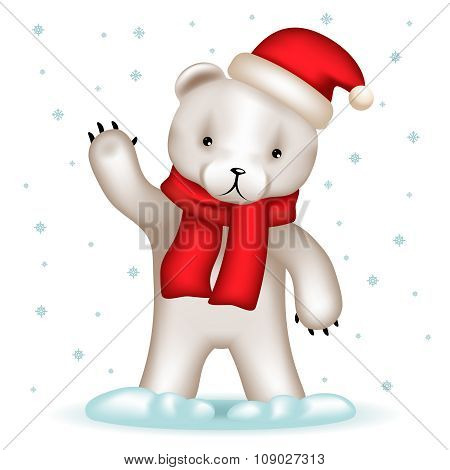 Toy Bear Cub Santa Claus Hat Greeting Waving Hand Winter Background Snowflakes Realistic 3d Vector I