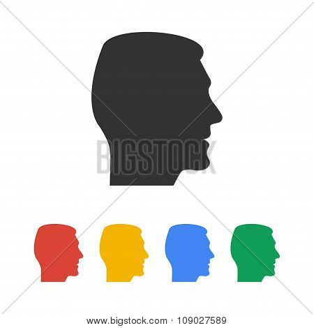 Head  Icon. Flat Design Style.