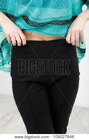 Woman In Black Shorts