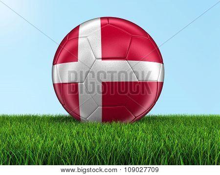 Soccer football with Danish flag