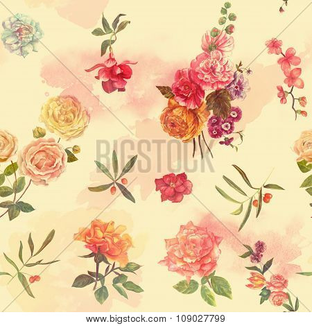 Bright watercolour roses, leaves and berries seamless background pattern, toned