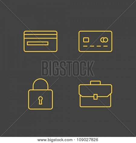 Money and finance icons. Outline vector icons. Linear style