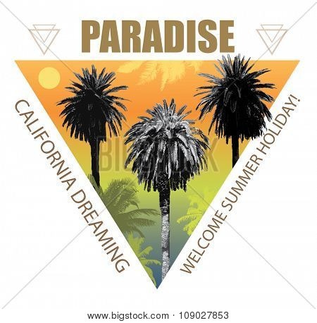 Summer Travel Background with Palms. Exotic Print for T-shirt.