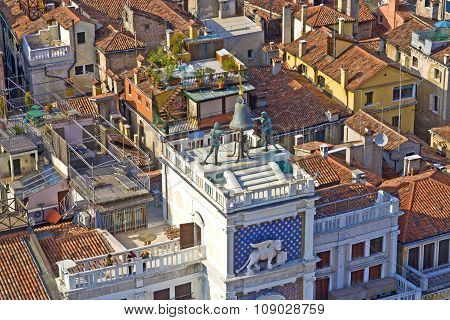 View To Famous Clocktower At San Marco Place In Venice