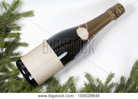 Champagne And Christmas Tree - Christmas Background