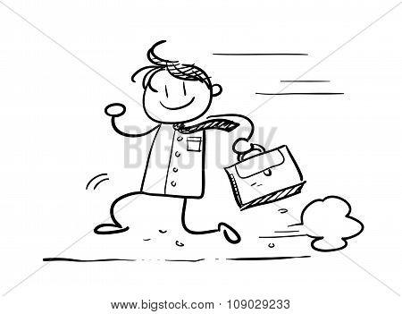 Running Businessman Doodle