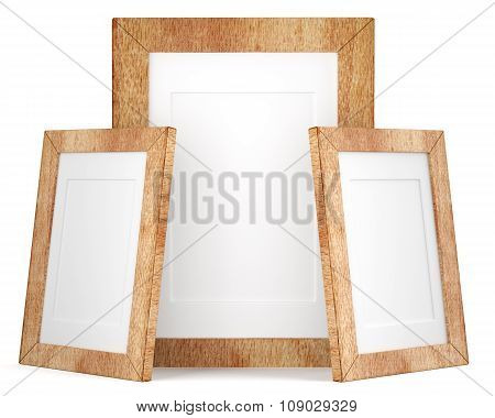 Three Wooden Frames Isolated On White Background
