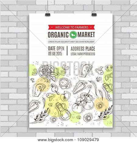 Organic food Poster template. Vector illustration.