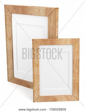 Two Wooden Frames Isolated On White Background