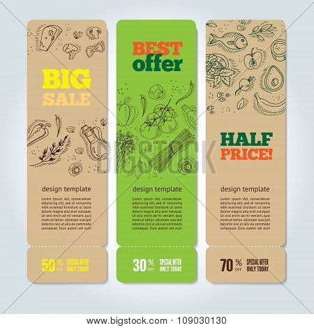 Set of banners with organic vegetables.