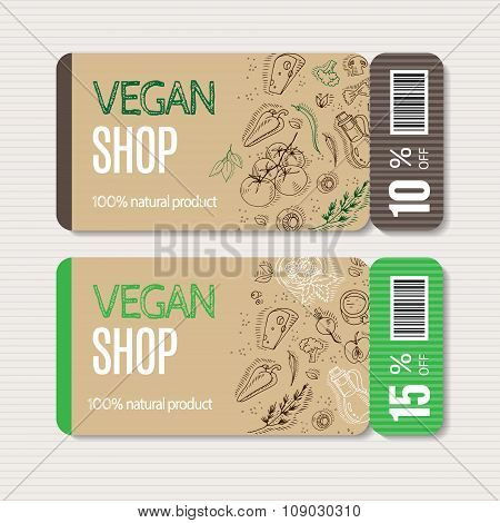 Coupons templates with organic vegetables.