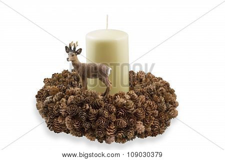 Handmade wreath with larch cones and candle