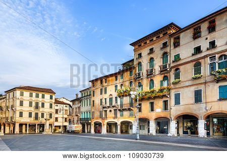 Romantic Market Place At Old Town  Bassano Del Grappa In Early Morning