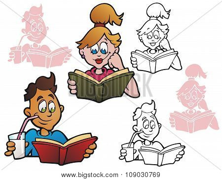 Young People Reading Books