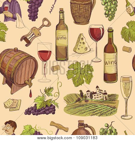 Wine vintage hand drawn sketch seamless pattern
